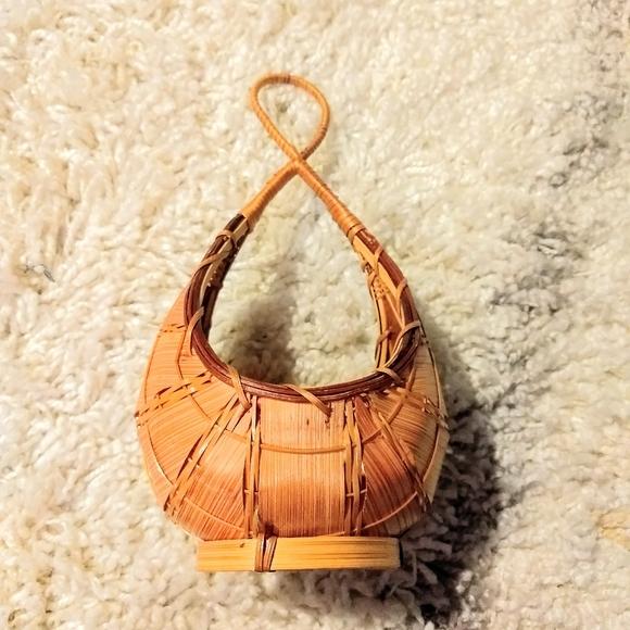 Boho wicker style hand woven small hangable basket